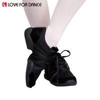 LOVE FOR DANCE Jazz Dance Shoes Lace-up Soft Split Soles Ballet Dance Shoes Canvas Gym Yoga Fitness Karate Shoes Flat Sneakers