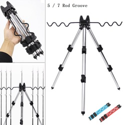 Aluminum Alloy Telescopic 5 / 7 Groove Fishing Rods Holder Collapsible Tripod Stand Sea Fishing Pole Bracket