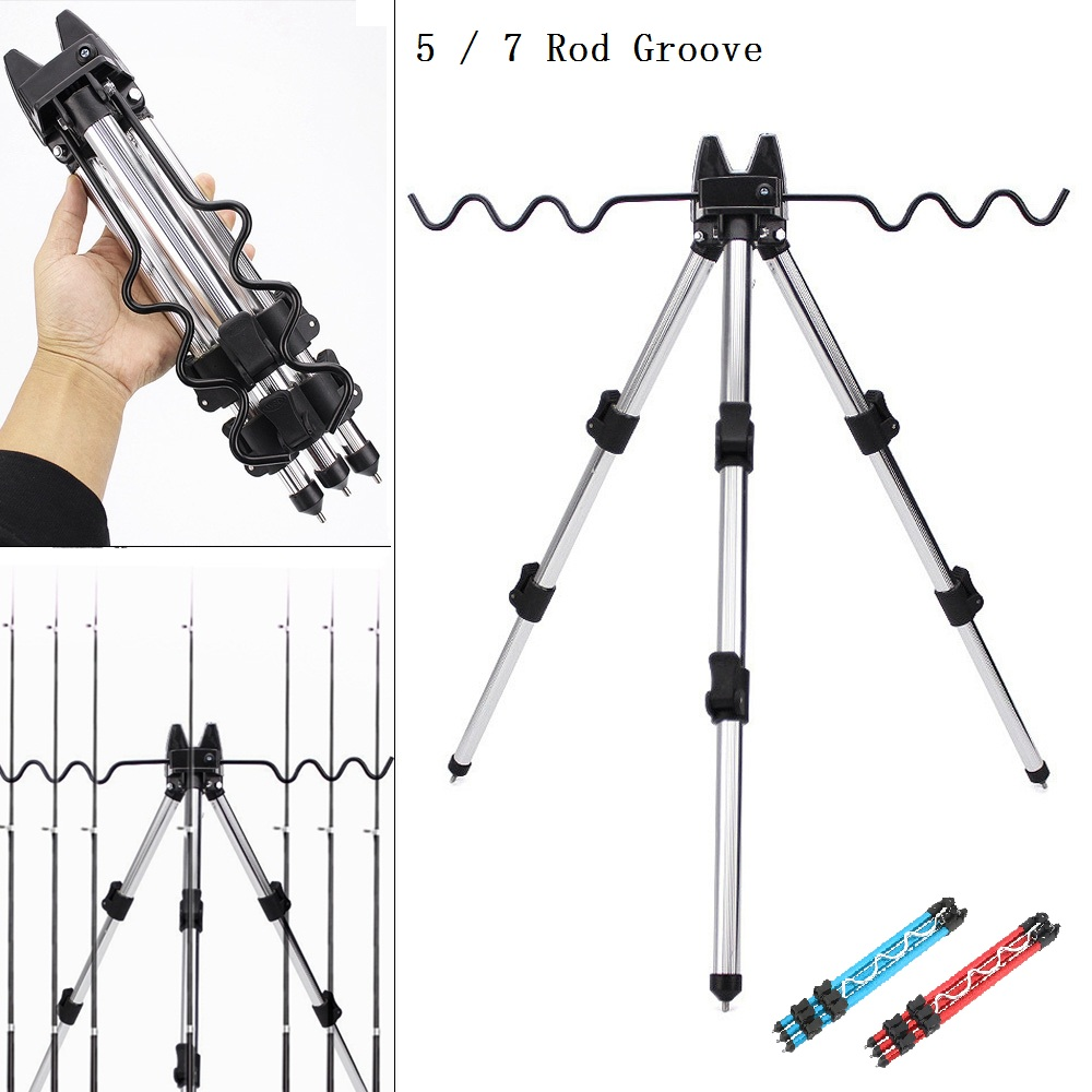 Aluminum Alloy Telescopic 5 / 7 Groove Fishing Rods Holder Portable Collapsible Tripod Stand Sea Fishing Pole Bracket