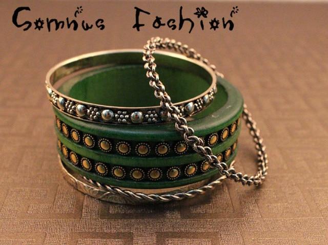 Min.order is $10 (mix order) Free shipping Europe&America Jewelry Punk Rivet Bangle Bracelet 5pcs/Set