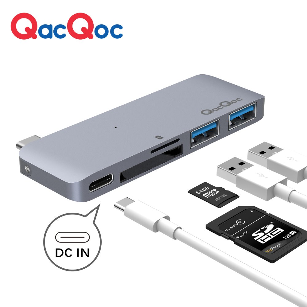 QacQoc GN21B Aluminium USB C Hub with Card Reader 2 USB 3.0 Ports Type-C Power delivery for Macbook12-Inch MacBook Pro adapter