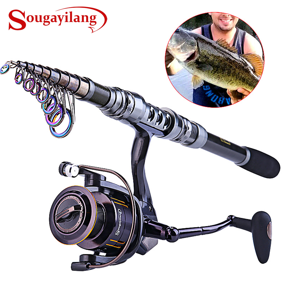 Sougayilang 1 8 3 0M Telescopic Fishing Rod and 13 1BB Spinning Reel Combo Saltwater Carp