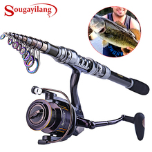 Sougayilang 1.8-3.0M Telescopic Fishing Rod and 13+1BB Spinning Reel Combo Saltwater Carp Wheel Carbon Pole Sets Fishing Tackle