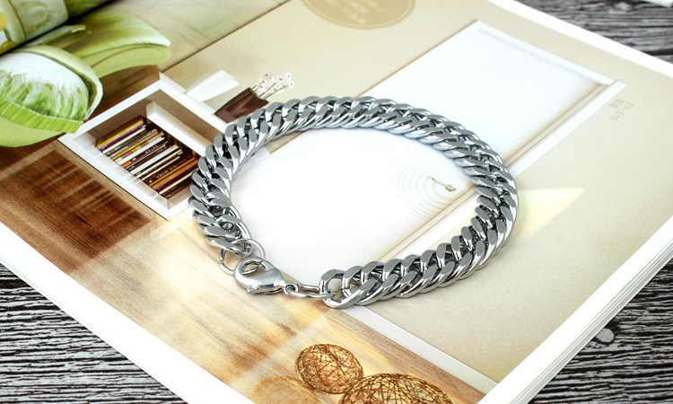 Мужские браслеты в стиле панк, серебряные, нержавеющая сталь, 4 мм, панцирные, кубинские, звенья цепи, браслеты для мужчин и женщин, вечерние ювелирные изделия, подарок, нарукавная повязка heren