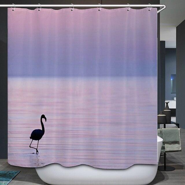 Smiry Sea Scenic Shower Curtain Polyester Sunset Moonlight Egrets ...