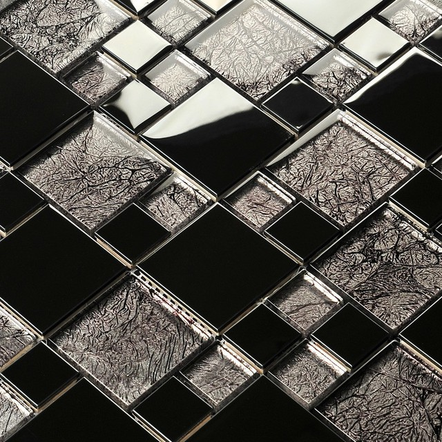 Black Stainless Steel Metal Gold Foil Glass Mosaic Puzzle