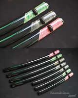 ไม้ Saya ญี่ปุ่น Katana Sword Scabbard ห่อจริงปลากระเบนสีดำบัฟฟาโลฮอร์นมือวาดยี่ห้อใหม่