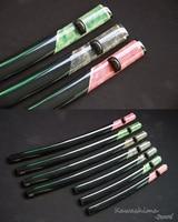 Wooden Saya Japanese Katana Sword Scabbard Wrapped With Real Stingray Skin Black Buffalo Horn Hand Painted Brand New