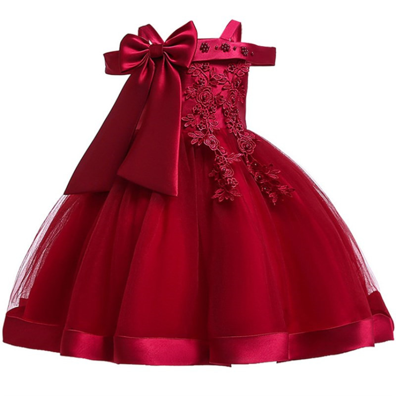 2019 Big Bow Girl Ball Gown Wedding Clothes First Communion Princess Dress Baby Costume Beading Vestido Children Party Clothing