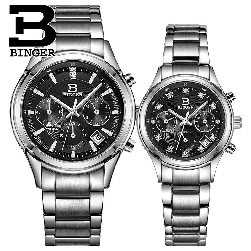 Schweiz Binger quarz frauen & männer uhren mode Lovers luxus marke Chronograph wasserdichte Armbanduhren BG6019 L-in Partneruhren aus Uhren bei  Gruppe 2