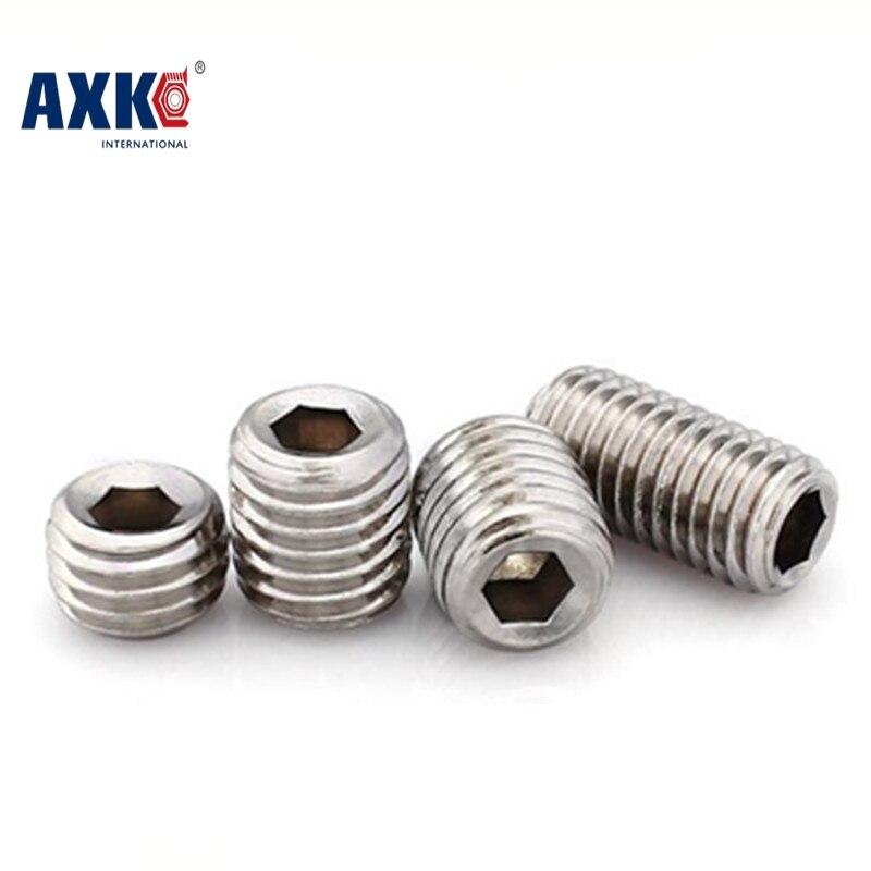 100pcs Din913 M2.5 M3 M4 M5 304 Stainless Steel Metric Thread Grub Screws Flat Point Hexagon Socket Set Screws Headless Axk08 100pcs din934 m1 4 m1 6 m2 m2 5 m3 m4 carbon steel hex nut hexagon nuts metric thread suit for screws bolts hw010