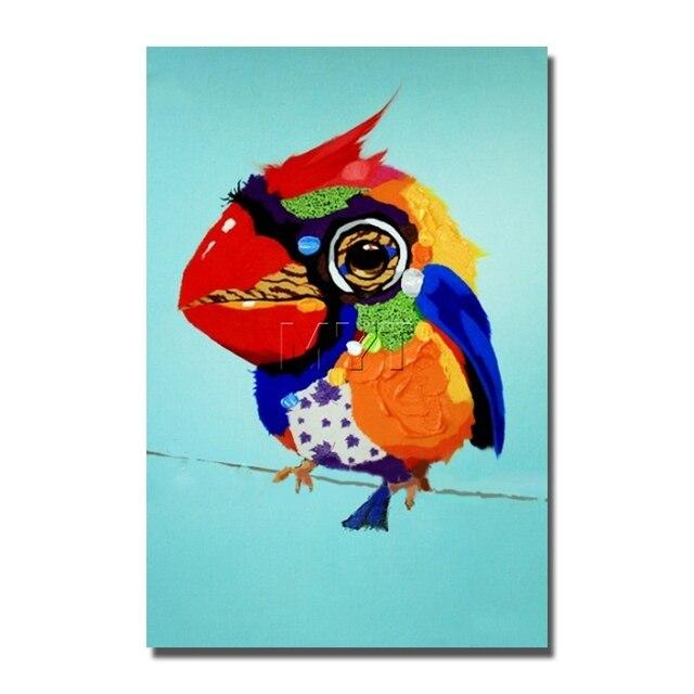 Pintura al óleo del loro pájaro de dibujos animados cuadros para ...