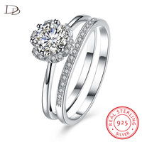 DODO 2 Pics Sets Rings For Women Aaa Zircon Lovely Flower Genuine 925 Sterling Silver Jewelry