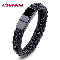 MOZO FASHION Men Vintage Bracelet Stainless Steel Bead Chain Leather Mixed Braided Bracelets Bangles Punk Male