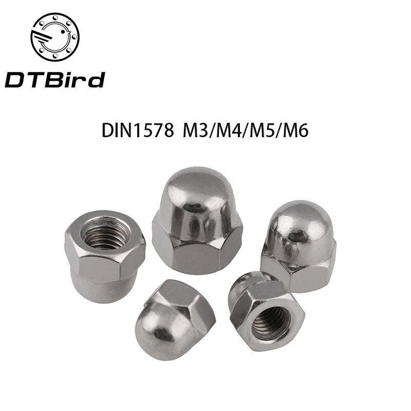 50pcs Stainless Steel Hex Acorn Nut Cap Decorative Cover Dome Nuts 6*8*10mm