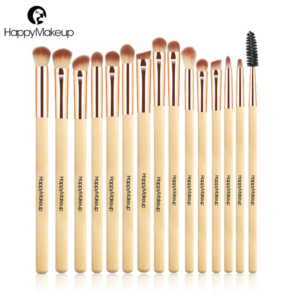 Happy Makeup Eye Brushes Set 15pcs Bamboo Blending Eye Shadow Shader Lash Make Up Brush kit Synthetic Hair Cosmetic Professional