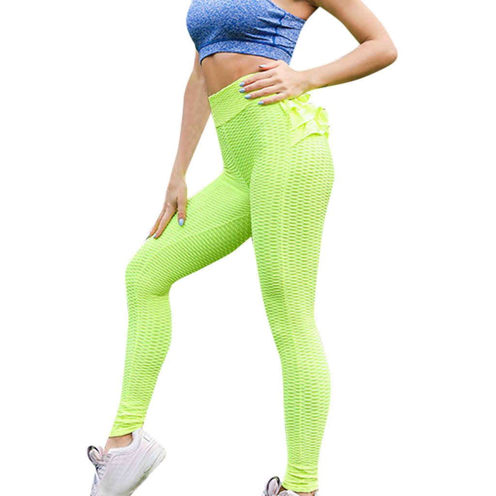 Women Casual Pleated Pants Yoga Sport Slim Skinny Legging Pants Ruffle Trouser L