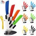 """FINDKING marca de alta calidad cuchillo de cocina set de cuchillos de cerámica 3 """"4"""" 5 """"6"""" pulgadas + peeler + Soporte de Acrílico Transparente utensilios de cocina"""