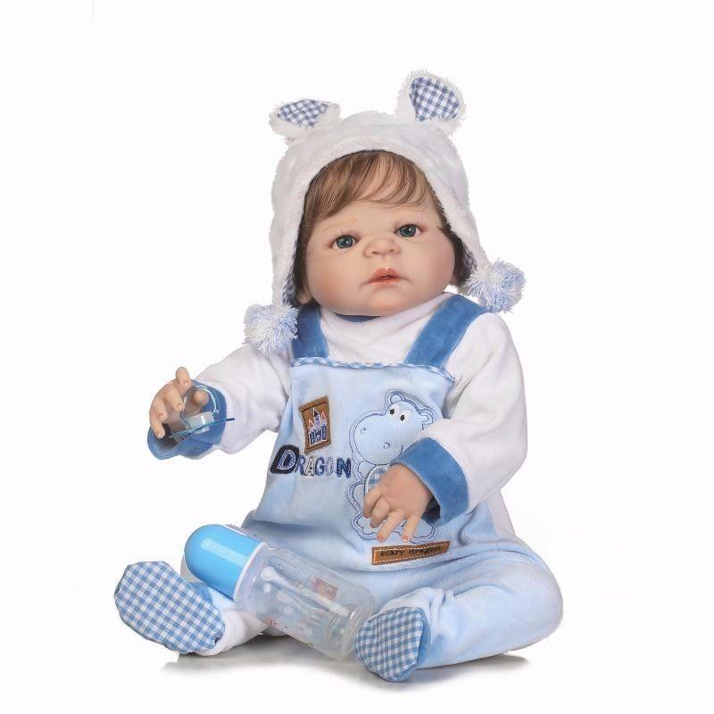 "55cm/22"" Full Body Soft Touch Vinyl Silicone Lifelike Reborn Baby Boy Doll Blue Eyes Handmade Bath Toy Collection"