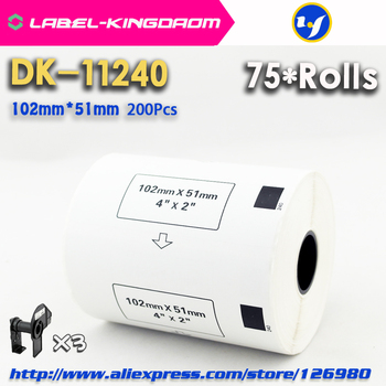 75 Refill Rolls Compatible DK-11240 Label 102mm*51mm 600Pcs Compatible for Brother Label Printer QL-1050/1060 White Paper DK1240