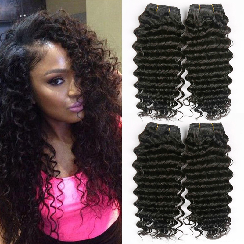 Hair Weaves Hair Extensions & Wigs 2019 Fashion Hairugo Hair Pre-colored Peruvian Kinky Curly Wave Human Hair Bundles Natural Black Non Remy Hair Extension 4 Bundles Special Buy