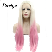 Xiweiya Silky straight ombre light blonde to pink synthetic lace front wigs Heat resistant fiber women middle part long pink wig