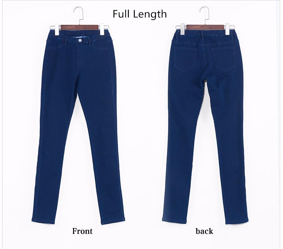 Women Plus Size Casual Slim Stretch Cotton Denim Jeans Blue black 50