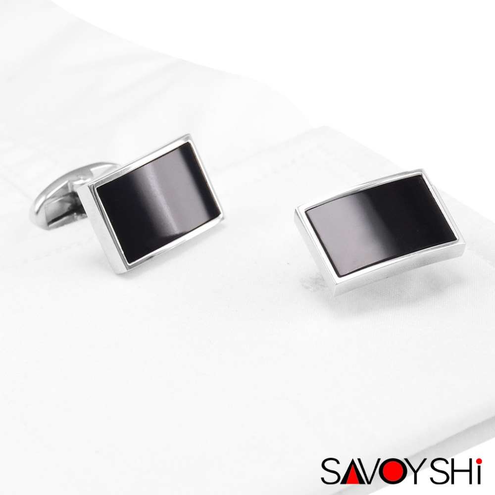 Luxury Black Stone Cufflinks for Mens Cuff High Quality Business Gift Cuff links Fashion Accessories SAVOYSHI Brand Men Jewelry