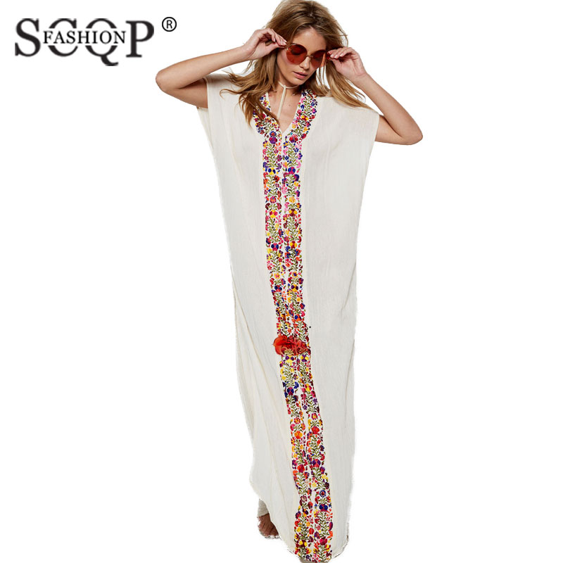 8a9160a06512 SCQP FASHION Embroidery V neck White Floral Maxi Dress Ladies Short Sleeve  Womens Dresses Side Split Beach Long Summer Dress-in Dresses from Women's  ...