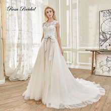 Rosabridal wedding dress ball gown Round collar lace appliques beading emboidery belt backless with bow invisible zipper