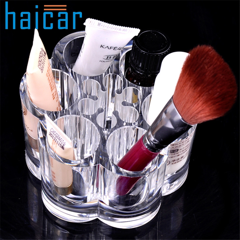 9afda562e6e9 US $4.55 33% OFF Haicar organizer Plum Flower Clear Shaped Cosmetic  Lipstick Brush Holder Makeup Case Storage box organizer u6712-in Storage  Boxes & ...