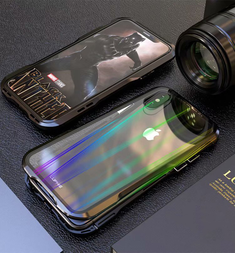 Luxury Magnetic Case For Apple iPhone XS Max Case coque Metal bumper cover For iPhone XR Case Transparent Aurora tempered glass  (12)