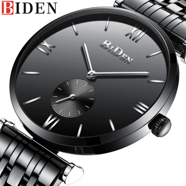 Full Black BIDEN Men Fashion Casual Stainless Steel Watch Business Quartz Wristwatches Male Simple Watches halei lovers watches crystal inlaid full steel quartz watch women men simple casual wristwatches silver clock calendar relojes