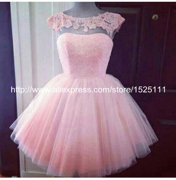 Cute Light Pink Short Prom Dresses Ball Gown Tulle Appliques Cap ...
