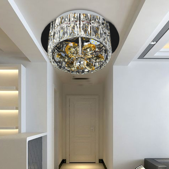 Simple LED European Crystal Chandelier Lamp Living Room Ceiling Lamps Porch Small  Bedroom Lighting Energy