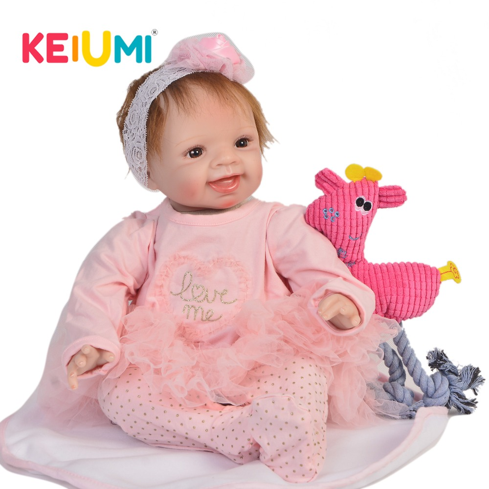 KEIUMI Handmade 22 Inch Newborn Baby Doll Cloth Body Realistic Fashion Baby Doll Toy For Children's Day Kid Xmas Birthday Gifts keiumi cute 22 inch reborn baby doll cloth body realistic fashion princess baby doll toy for children s day kid xmas gifts