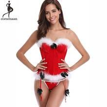 Christmas Corset Sexy Red Korset Overbust Cup Bustier Boned Gorset Xmas Korse Women Santa Cosplay Corsets White Fur Corsetto Hot