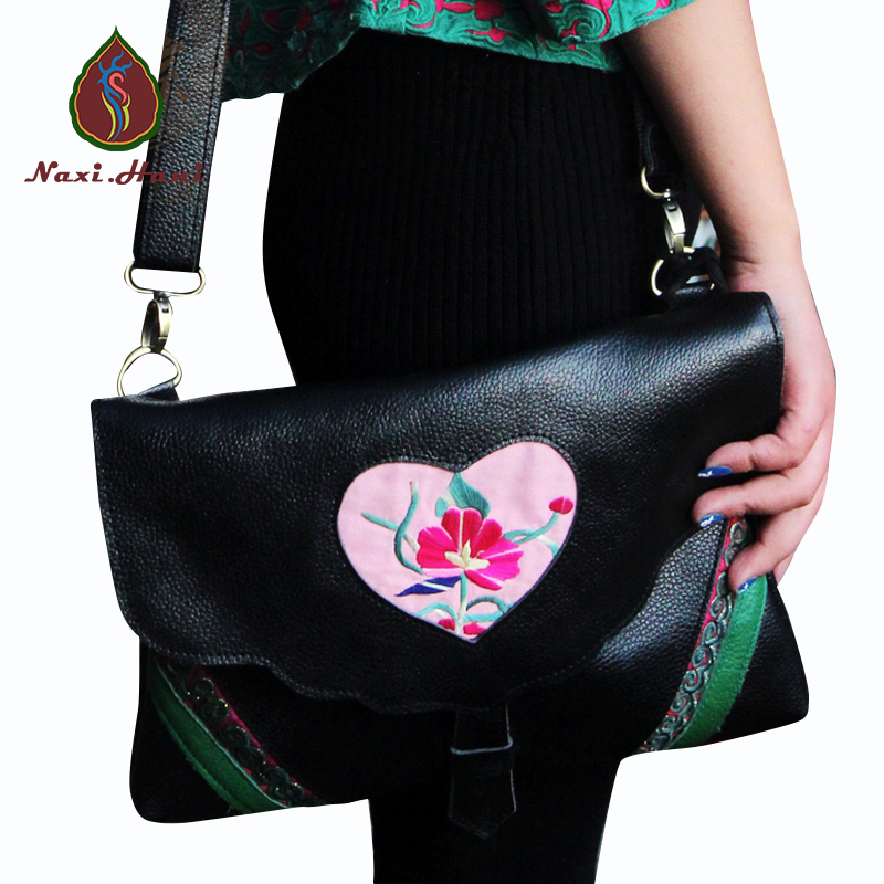 Ethnic embroiderygenuine leather women handbag Retro fashion all-match Travel inclined shoulder bags Womens day gifts
