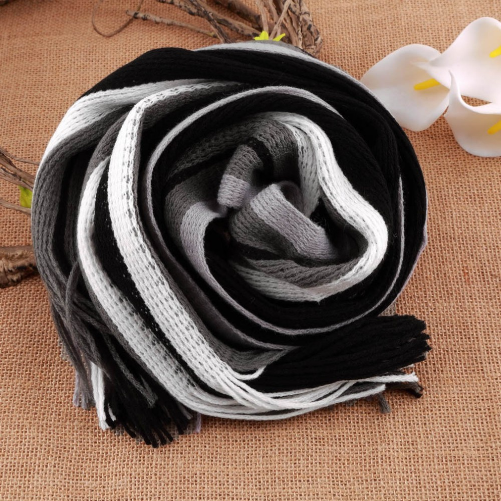 16 New fashion designer Men Classic Cashmere Scarf Winter Warm Soft Fringe Striped Tassel Shawl Wrap striped scarf men scarves 3