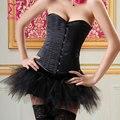 Burlesque Women Sexy Corset Dress Overbust Gothic Bustier Top with Tutu Skirt Set Korsett Corpetes E Espartilhos Para Festa