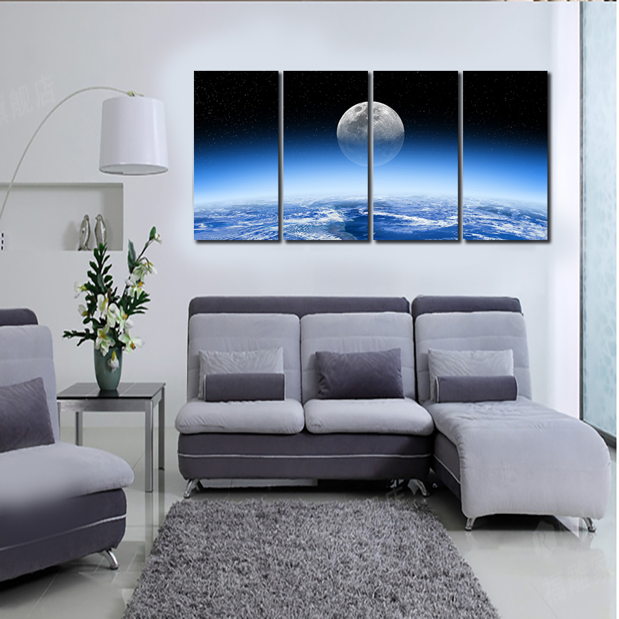 2016 Top Hd Home Deco Art Bright Moon In The Universe Decor Landscape Oil Painting On Canvas Living Room Backdrop Wallpaper Home Deco Moon Hdmoon Art Aliexpress