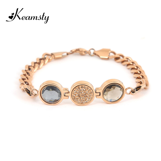 942d0544f Keamsty Hot Selling Brilliantly Rose Gold Stainless Steel Bracelets  Including 3pcs Magnetic XS Coins Bracelet Set for Women Gift