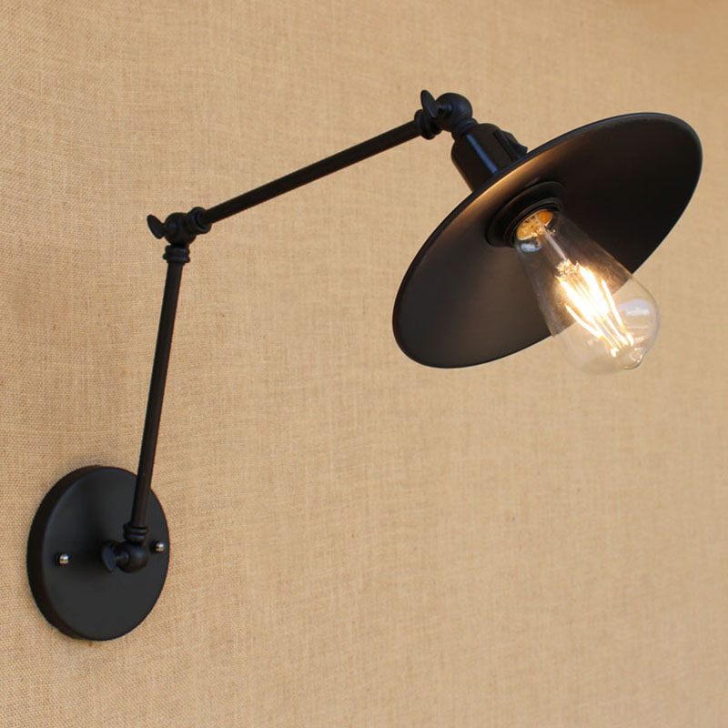 4 style Loft noir rétro industrielle mur de fer lampe ajuster applique E27/E26 Lumières avec interrupteur pour salon chambre mobilier
