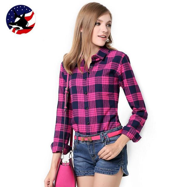 Galeoid cotton women's Blouses sanded female long-sleeve plaid shirt Women 100% cotton Flannel shirt  Tops