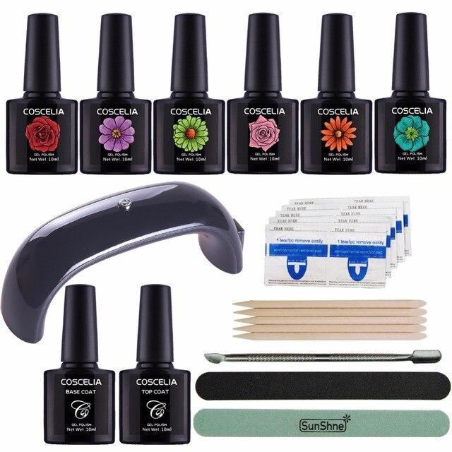 Nail Art Kits Manicure Set 9W LED Nail Lamp Nail Gel Polish Set Kit ...