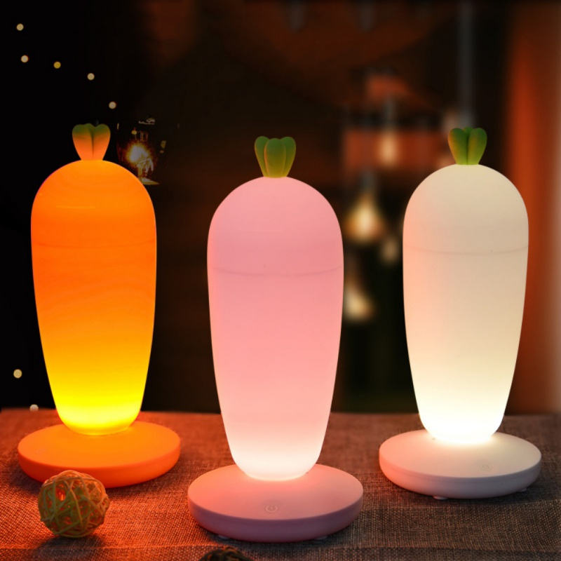 Unique 3D Cute Radish USB Rechargeable LED Night Light Detachable Touch Dimmer Atmosphere Night Baby Nursing Lamp for Home