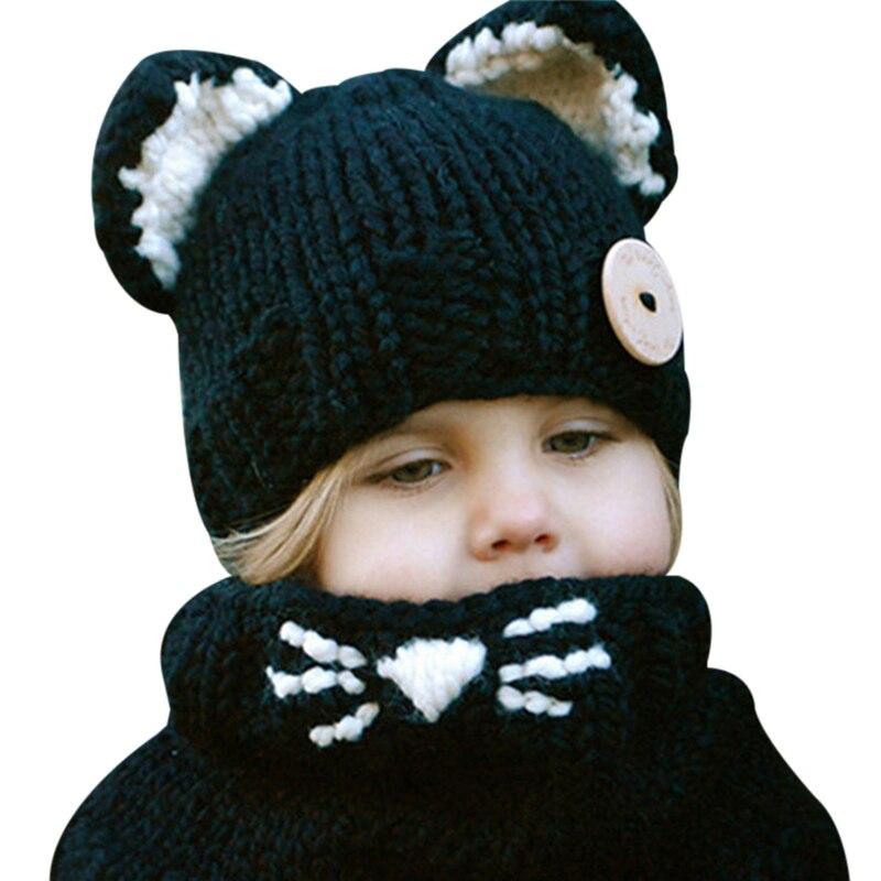 Winter Beanie Warm Hat Baby Girls Boys Cap Fashion Kids Hooded Scarf Set Knitted Cap For Baby Warm Autumn Hat