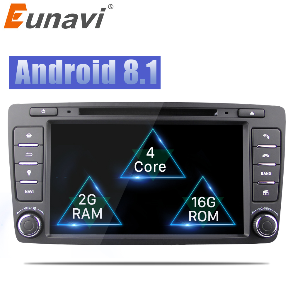 Eunavi 2 Din Car DVD GPS For Skoda Octavia 2012 2013 A 5 A5 Yeti Fabia Car Android 8.1 Quad Core RAM 2GB Stereo Radio Navigation shining wheat genuine leather steering wheel cover for skoda octavia superb 2012 fabia skoda octavia a 5 a5 2012 2013 yeti