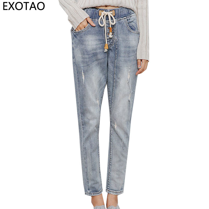 EXOTAO Vintage Ripped Jeans for Women Bandage Elactis Waist Denim Pants Female Ankle-Length Pencil Trousers Autumn New Vaqueros 2017 fashion women jeans retro style floral embroidery ripped hole denim pencil pants vintage mid waist ankle length trousers