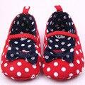 Del niño del bebé zapatos de princesa niñas Polka Dot Bowknot suave zapatos 0-12 meses